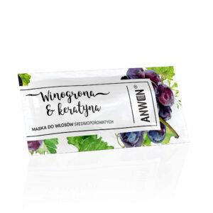 Anwen Maska do włosów srednioporowatych Winogrona i Keratyna saszetka. Kosmetyki naturalne do wlosow UK Dunia Organic