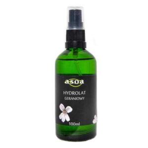 Asoa Hydrolat geraniowy 100ml. Kosmetyki naturalne i organiczne w UK Dunia Organic.