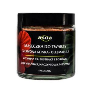 Asoa Maseczka do twarzy czerwona glinka - olej markula. Kosmetyki naturlane i organiczne w UK Dunia Organic (1)