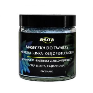 Asoa Maseczka do twarzy z niebieską glinką olej z pestek moreli . Kosmetyki naturlane i organiczne w UK Dunia Organic (1)