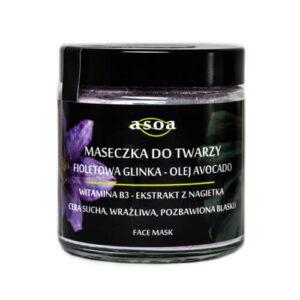 Asoa Sunny Maseczka do twarzy fioletowa glinka olej awokado . Kosmetyki naturlane i organiczne w UK Dunia Organic (1)