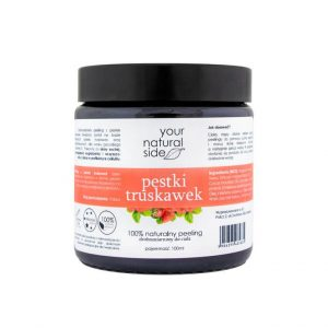 Your Natural Side Peeling z pestek truskawek drobnoziarnisty 100g. Naturalne kosmetyki w UK Dunia Organic