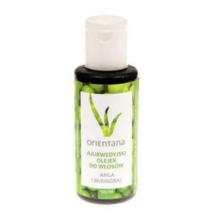 Orientana Ajurwedyjski Olejek do włosów Amla i Bhringraj. Naturalne kosmetyki dla włosów UK Dunia Organic