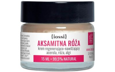 Iossi Aksamitna Róża. Krem regenerująco – nawilżający. Acerola, róża, algi. MINI 15ml