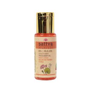 Sattva Ayurveda kwiat lotosu olejek do twarzy i ciała.Naturalne kosmetyki Sattva UK Dunia Organic