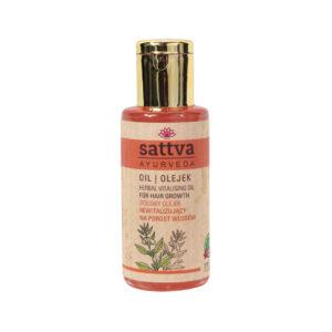 Sattva Ayurveda ziołowy olejek rewiatlizujący. Naturalne kosmetyki do włosów Sattva UK Dunia Organic