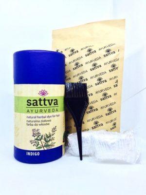 Sattva naturalna ziołowa farba do włosów - Indigo. Henna do włosów UK Dunia Organic