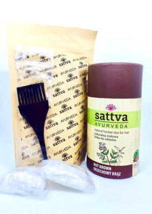 Sattva naturalna ziołowa farba do włosów - Orzechowy Brąz. Henna do włosów UK Dunia Organic