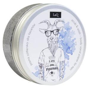 LaQ Peeling dla mężczyzn z węglem aktywnym, masłem shea i ekstraktem z chmielu. Naturalne kosmetyki handmade UK Dunia Organic