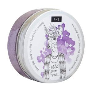 LaQ Peeling myjący lawendowo waniliowy Naturalne kosmetyki handmade UK Dunia Organic