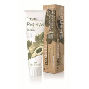 Ecodenta Pasta do zębów Papaya. Naturalne kosmetyki do twarzy UK. Dunia Organic