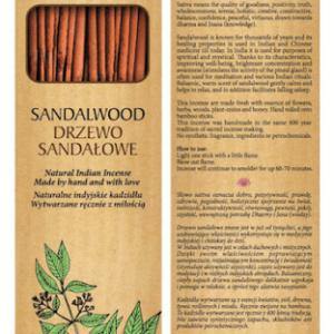Sattva Ayurveda Kadzidełko Drzewo Sandałowe 15 patyczków. .Naturalne kosmetyki Sattva UK Dunia Organic
