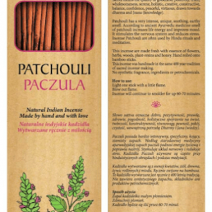 Sattva Ayurveda Kadzidełko Paczula 15 patyczków. .Naturalne kosmetyki Sattva UK Dunia Organic