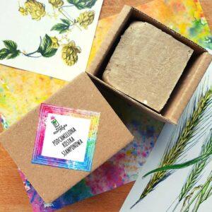 Nowa kosmetyka Podchmielona kostka szamponowa. Kosmetyki naturalne i organiczne UK Dunia Organic