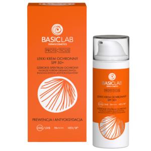 BasicLab Lekki krem ochronny SPF50+. Prewencja i Antyoksydacja 50ml . Kosmetyki naturalne UK Dunia Organic.